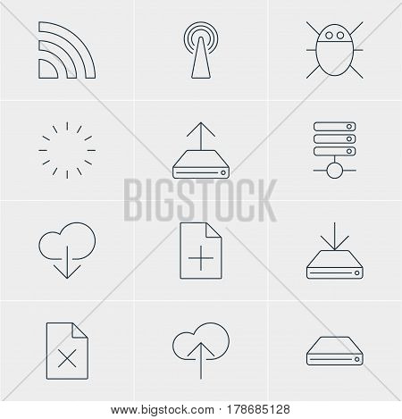 Vector Illustration Of 12 Network Icons. Editable Pack Of Hard Drive Disk, Information Load, Hdd Sync And Other Elements.