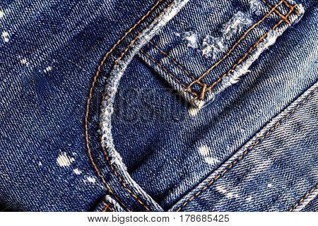 Surfaces and seams of old blu jeans.
