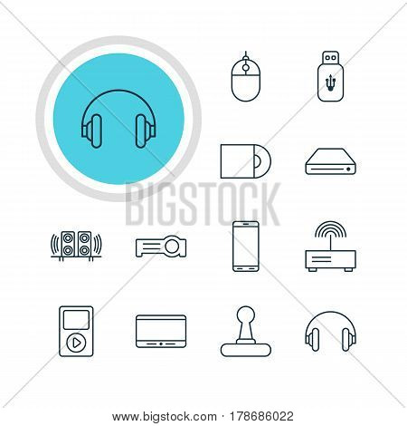 Vector Illustration Of 12 Hardware Icons. Editable Pack Of Dvd Drive, Media Controller, Floodlight And Other Elements.