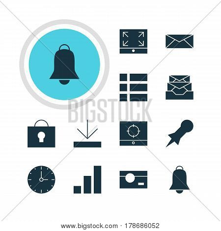 Vector Illustration Of 12 Internet Icons. Editable Pack Of Maximize, Target Scope, Clock And Other Elements.