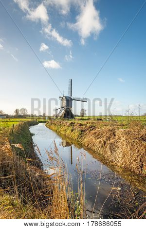 Landscape in the Netherlands with a historic wooden hollow post mill and a narrow stream with a reflecting water surface. It's a sunny day in autumn and the reed plants are yellowed. On the stationary sails of the mill black birds are resting.
