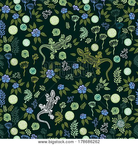 Seamless pattern with flowers, grass and lizards.