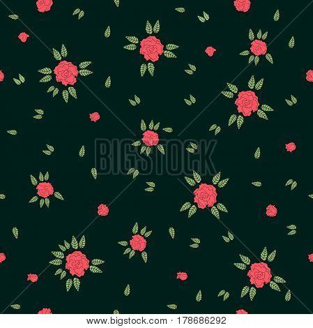 Seamless floral pattern with folk art motifs.