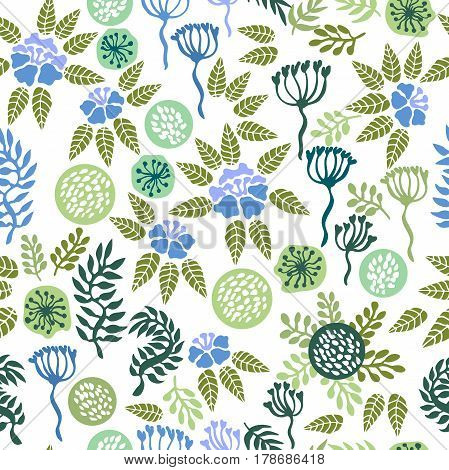 Vintage seamless pattern with abstract flowers, branches and grass.