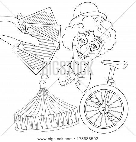 Set illustration for circus - stripe tent clown cards isolated on white background. Outline elements for coloring book vector illustration