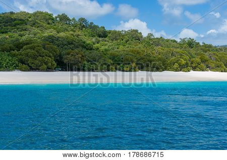 Australian Famous Whitehaven Beach With Silica White Sand And Turquoise Waters