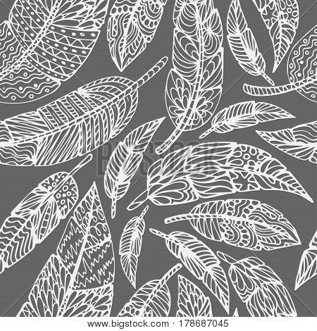 Seamless Ethnic feathers. Tribal Feathers Vintage Pattern. Hand Drawn Doodles. Vector illustration