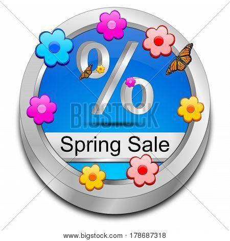 decorative blue spring sale button - 3D illustration