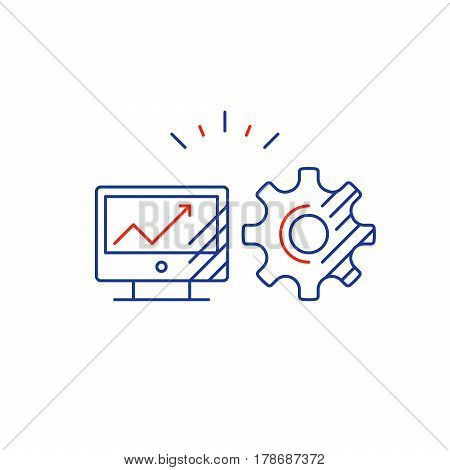 Desk top computer screen mono line icon, online business concept, web site design, internet technology vector