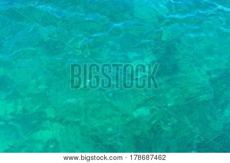Abstract Water Background Of Crystal Clear Turquoise Blue Water