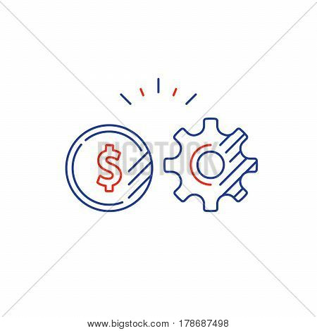 Financial investment strategy and management concept, finance planning logo, business technology, mono line vector illustration