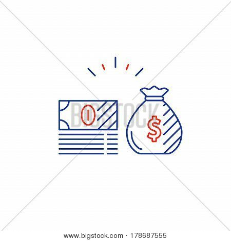 Money bag, bills stack, financial investments stock market, income and revenue concept, money return, pension fund plan, budget management, savings account, banking vector icon