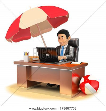3d business people illustration. Businessman working in his office on the beach. Isolated white background.