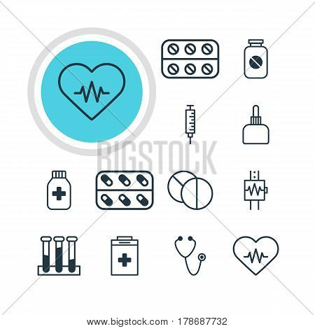 Vector Illustration Of 12 Medical Icons. Editable Pack Of Pills, Heart Rhythm, Pulse And Other Elements.