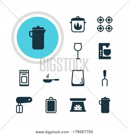 Vector Illustration Of 12 Restaurant Icons. Editable Pack Of Stewpot, Glass Cup, Wine And Other Elements.