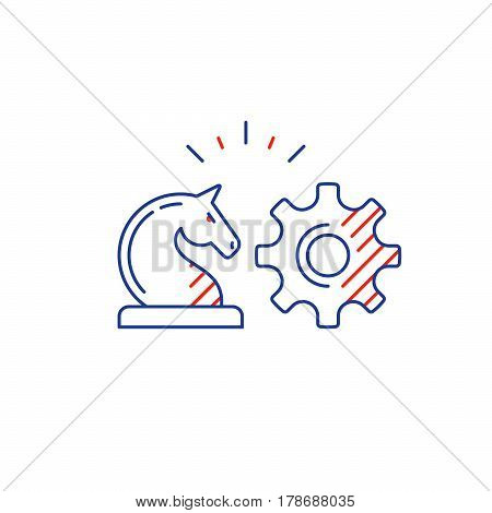 Business strategy logo, chess knight horse, training concept vector mono line icon