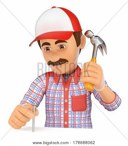 3d working people illustration. Worker nailing a nail with a hammer. Isolated white background.