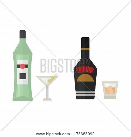 Alcohol drinks beverages cocktail whiskey drink bottle lager refreshment container and menu drunk concept different bottle and glasses vector illustration. Restaurant tequila rum party pub cognac.