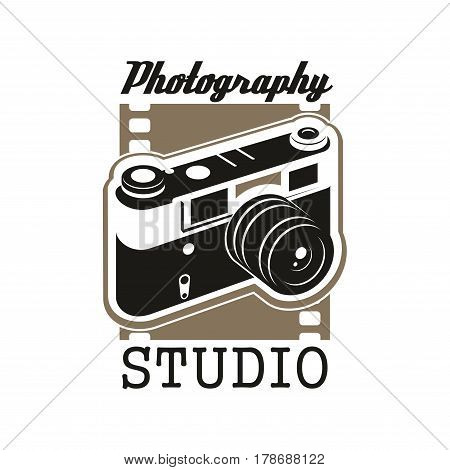 Photo studio icon. Photographer studio symbol of photo camera with photographic film on background. Isolated retro camera sign for photography studio design