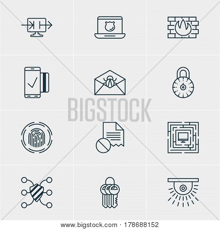 Vector Illustration Of 12 Internet Security Icons. Editable Pack Of Data Error, Safeguard, Camera And Other Elements.