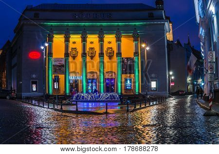 TALLINN, ESTONIA - JANUARY 29, 2017: Night Tallinn, Cinema Soprus 1955 is a building in the style of classicism of the Stalin era with elements of Estonian national motives.