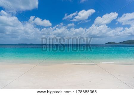 Tropical Island Beach With White Sand. Summer Vacation Background