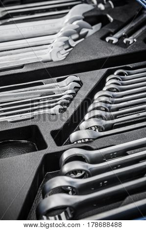 Wrenches in a box for tools, close-up