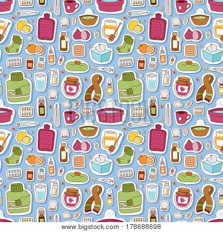 Flu influenza seamless pattern vector. Disease treatment infectious virus bottle illustration. Pharmacy temperature aid care sickness tablets cure bowls seamless pattern