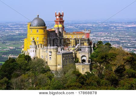 Aerial view of the Pena Palace in Sintra National Park, Portugal poster