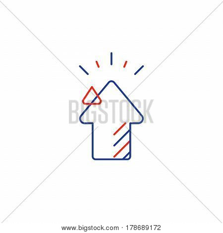 Growth concept, higher level, upgrade plan, financial increase, mono line vector icon