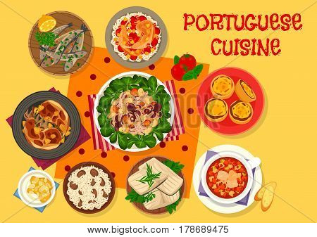 Portuguese cuisine lunch icon with grilled sardine, chicken stewed in wine with rice, fish tomato soup, custard tart, octopus bean salad, fried rabbit, dried cod, cream dessert with almond