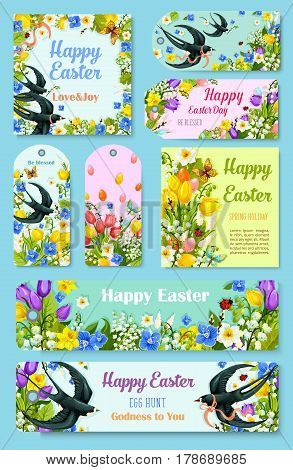 Happy Easter Day greeting tag, label and poster set. Easter egg with blooming flowers of tulip, lily and narcissus, swallow bird and butterfly, decorated by ribbon and bow. Spring holidays design