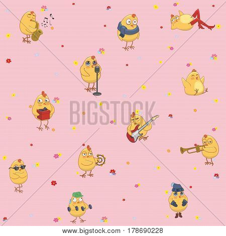 children's wallpaper. Active chickens on a pink background. vector illustration
