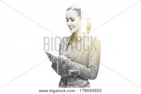 business, technology and people concept - young smiling businesswoman with smartphone texting over city and double exposure effect