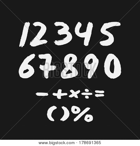 A mathematical set. The numbers one two three four five six seven eight nine zero. Signs plus minus equal multiplication division parenthesis percentage. Drawn with a rough brush.