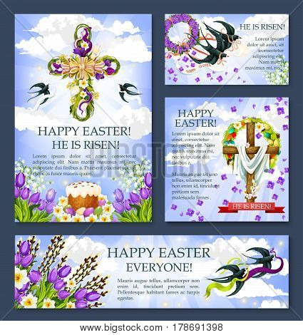 Easter cross with flower and bird banner or poster template. Easter egg and cake, crucifix with flower of tulip, lily and narcissus, swallow bird carrying floral wreath and Happy Easter ribbon banner