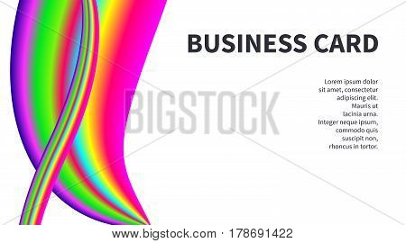 Horizontal business card for artist, designer, creative person with bright rainbow colorful curve on white background. Art template for banner, flyer, identity.