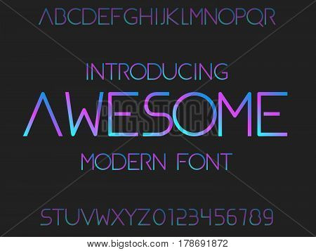 Font. Typeface. Modern typography alphabet. Futuristic typeface