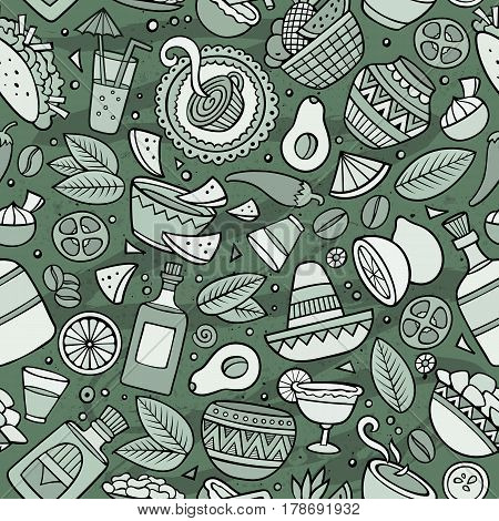 Cartoon vintage hand-drawn latin american, mexican seamless pattern. Lots of symbols, objects and elements. Perfect funny vector background.