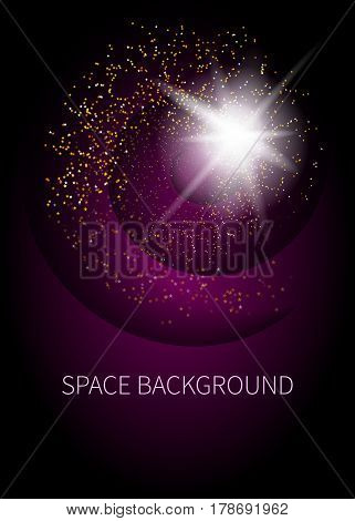 Background with space star dust and shining by light rays. Template for card, banner, booklet, poster. Cover for brochure, flyer. Vector illustration.
