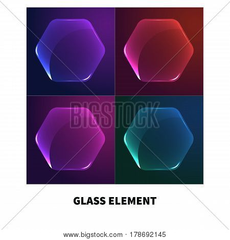 Transparent  glass. Hexagonal  button isolated on dark background. Template for tag, frame, banner. Geometric graphic design element in shape of hexagon. Vector illustration.