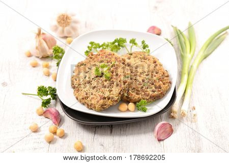 vegetarian burger with chickpea and lentils