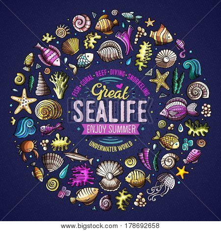 Colorful vector hand drawn set of Sealife cartoon doodle objects, symbols and items. Round frame composition