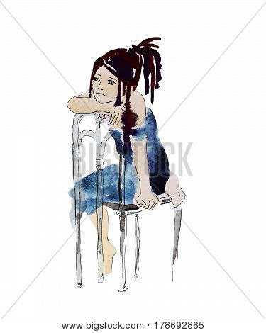 Daydreaming sitting girl hand drawn watercolor illustration