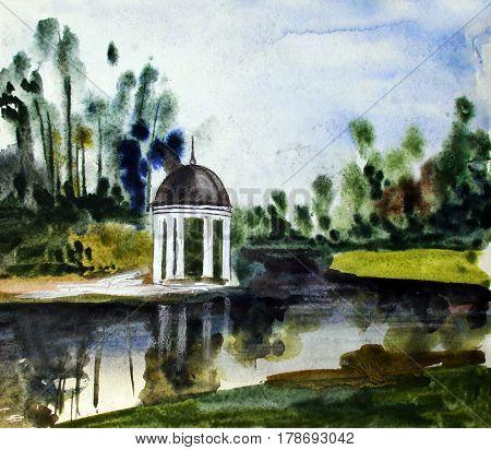 Summer pavilion, beautiful lake, watercolor had drawn illustration