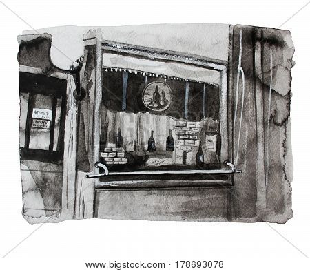 Vintage shop window, hand drawn watercolor illustration
