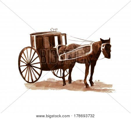Hand drawn vintage hors cab, watercolor illustration 1890s