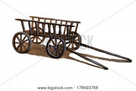 Vintage wooden Cart, hand drawn watercolor illustration