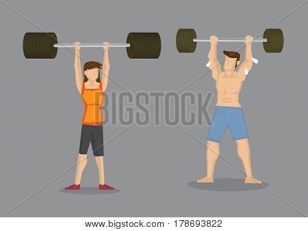 Weight lifting cartoon man impressed by slim woman lifting more weights. Vector illustration on wrong social perception concept isolated on grey background.