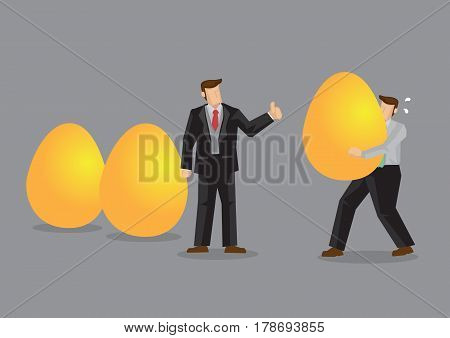 Manager gives thumbs up gesture to employees for bringing in gold eggs representing valuable asset. Creative vector illustration for concept positive reinforcement for asset accumulation.